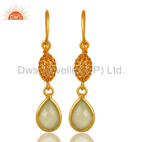 18K Gold Plated Sterling Silver Green Chalcedony Drop Earrings