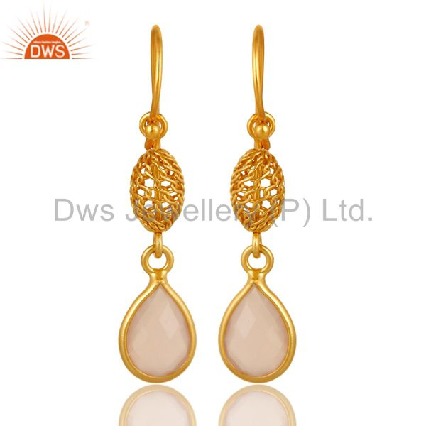 Bezel-Set Rose Chalcedony Sterling Silver Earrings - Yellow Gold Plated