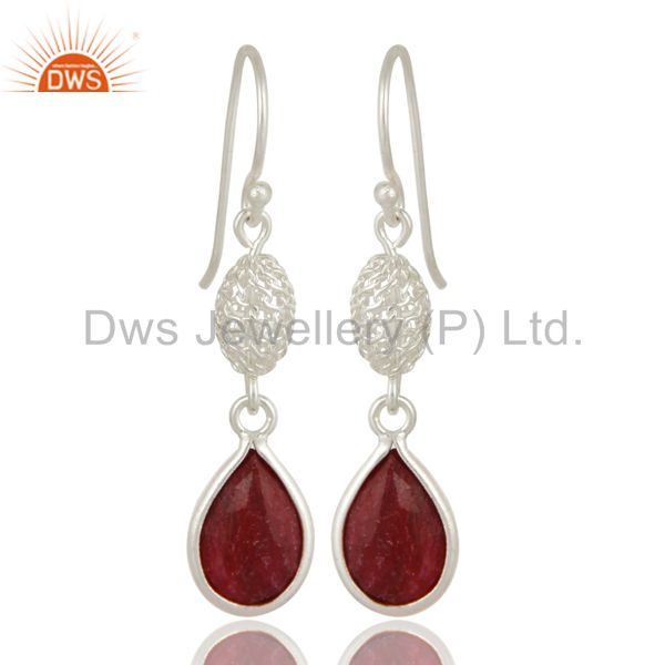 925 Sterling Silver Ruby Red Corundum Bezel-Set Drop Earrings