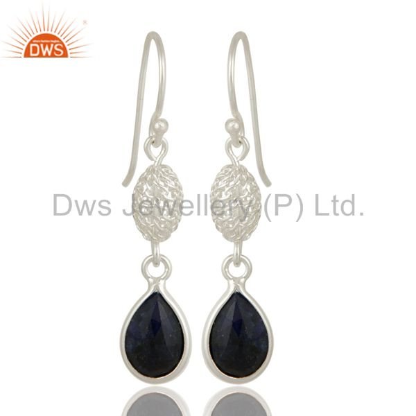 Sapphire Blue Corundum Bezel-Set Drop Earrings In 18K Gold Over Sterling Silver