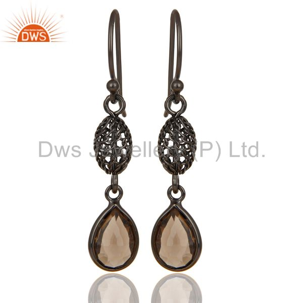 Black Oxidized 925 Sterling Silver Smokey Quartz Bezel Set Dangle Earrings