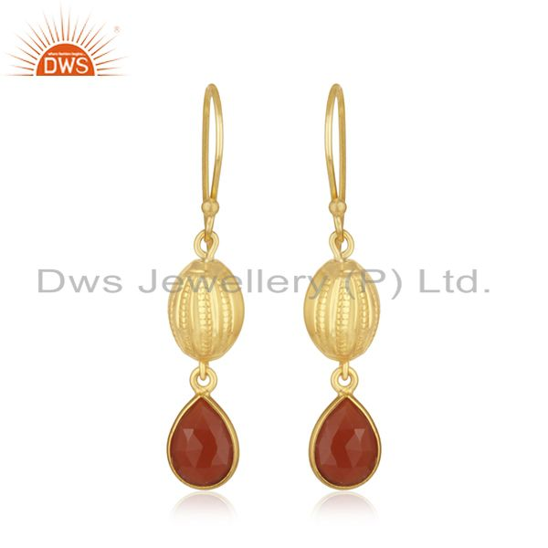 14k Gold Plated Sterling Silver Natural Red Onyx Gemstone Drop Earrings