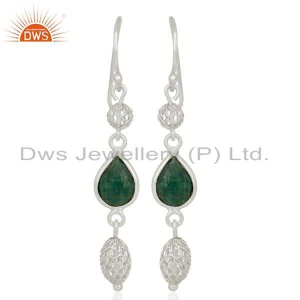 925 Sterling Silver Dyed Emerald Green Corundum Gemstone Dangle Earrings