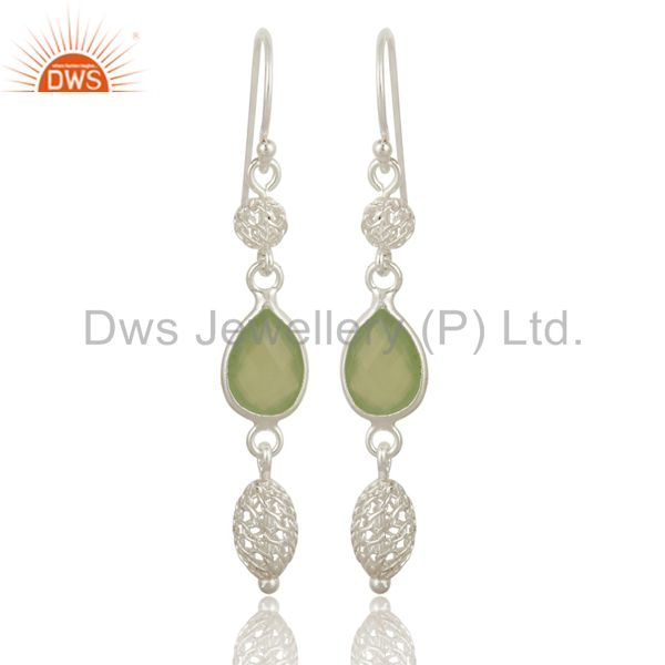 Dyed Prehnite Chalcedony Sterling Silver Designer Dangle Earrings