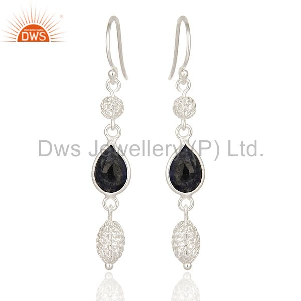 925 Sterling Silver Blue Sapphire Gemstone Designer Earrings