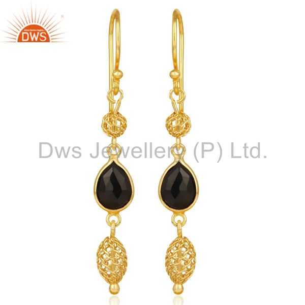 Black Onyx Dangle 14K Yellow Gold Plated 925 Sterling Silver Earrings Jewelry