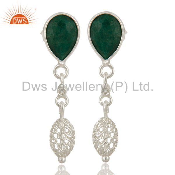 Natural Emerald Green Corundum Sterling Silver Dangle Earrings