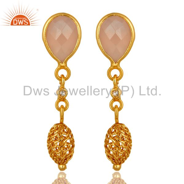 Rose Chalcedony Gemstone Sterling Silver Drop Earrings With Gold Plated