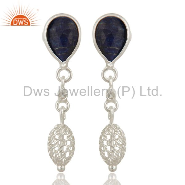 Natural Sapphire Blue Corundum Sterling Silver Dangle Earrings