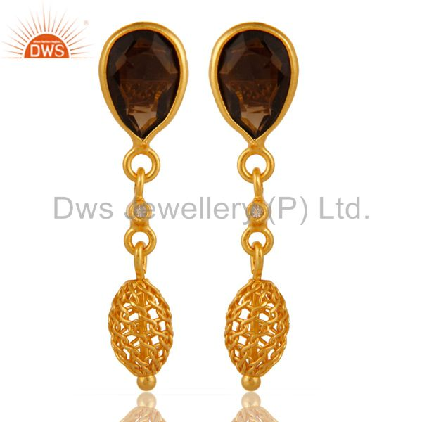 Natural Smoky Quartz Sterling Silver Drop Earrings With Yellow Gold Plated
