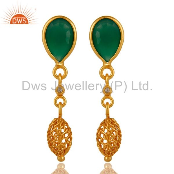 Natural Faceted Green Onyx Sterling Silver Bezel-Set Earrings - Gold Plated