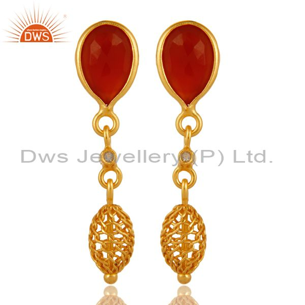 White Topaz And Red Onyx Drop Earrings in 18K Gold Over Sterling Silver