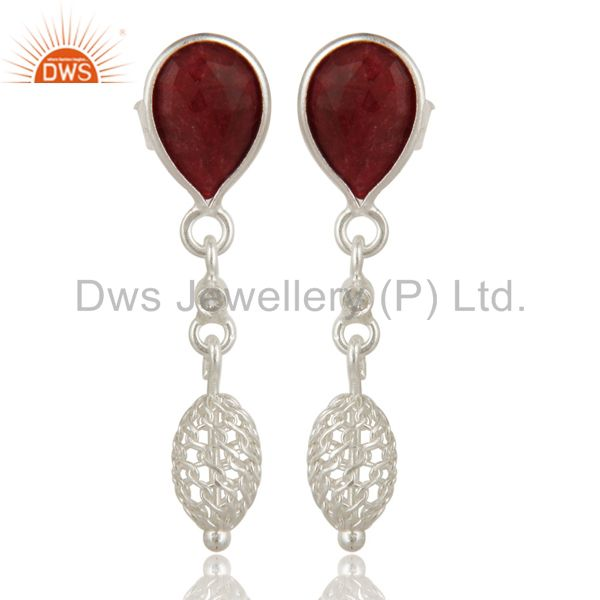Dyed Ruby Red Corundum Solid Sterling Silver Designer Earrings