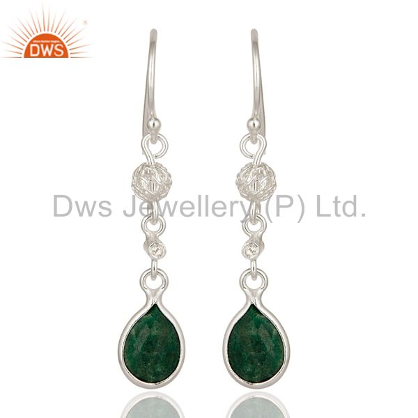925 Sterling Silver Emerald Green Corundum Designer Dangle Earrings