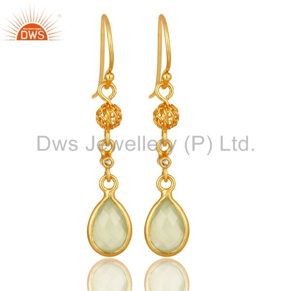 Gold Plated Sterling Silver Green Chalcedony And White Topaz Dangle Earrings