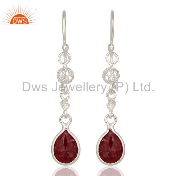 Designer Ruby Red Corundum 925 Sterling Silver Dangle Earrings