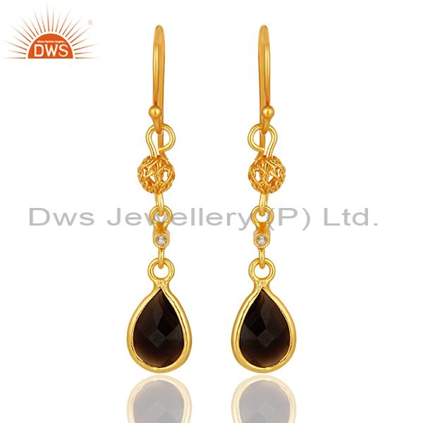 18K Yellow Gold Plated Sterling Silver Smoky Quartz And White Topaz Earrings