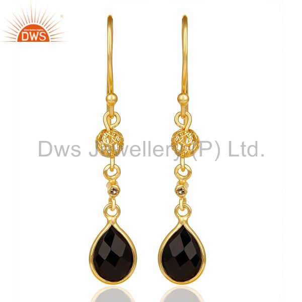 Black Onyx White Topaz Dangle Filigree 14K Gold 92.5 Sterling Silver Earring