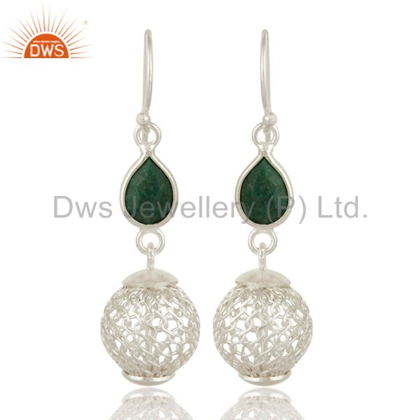 Solid Sterling Silver Ball Earrings With Green Corundum Jewelry