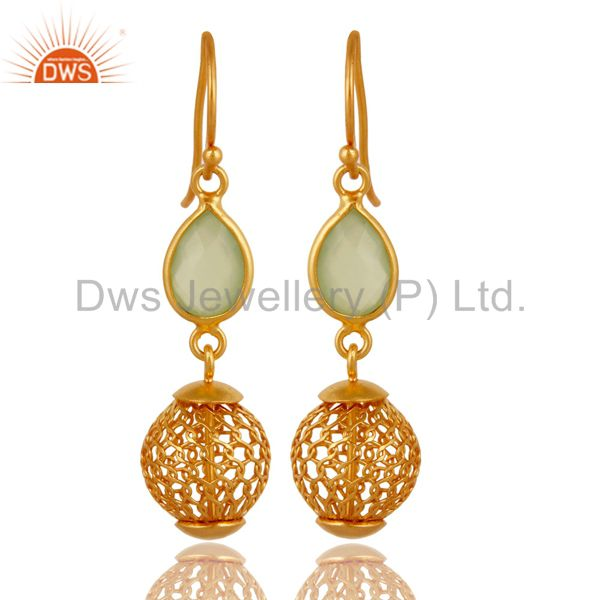 14K Gold Plated Sterling Silver Ball Drop Fashoin EarringS With Green Chalcedony