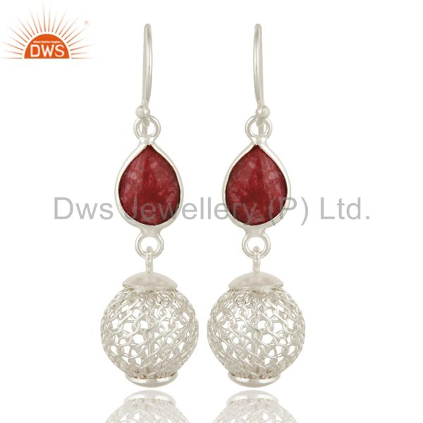 Handmade Red Corundum Sterling Silver Designer Earrings