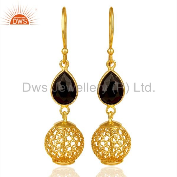Black Onyx Dangle 14K Gold Plated 925 Sterling Silver Bezel Set Earrings Jewelry