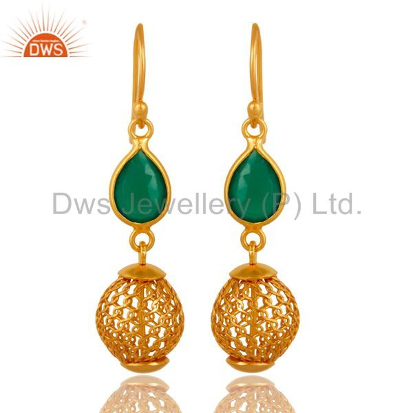 14K Yellow Gold Plated Green Onyx Sterling Silver Drop Earrings