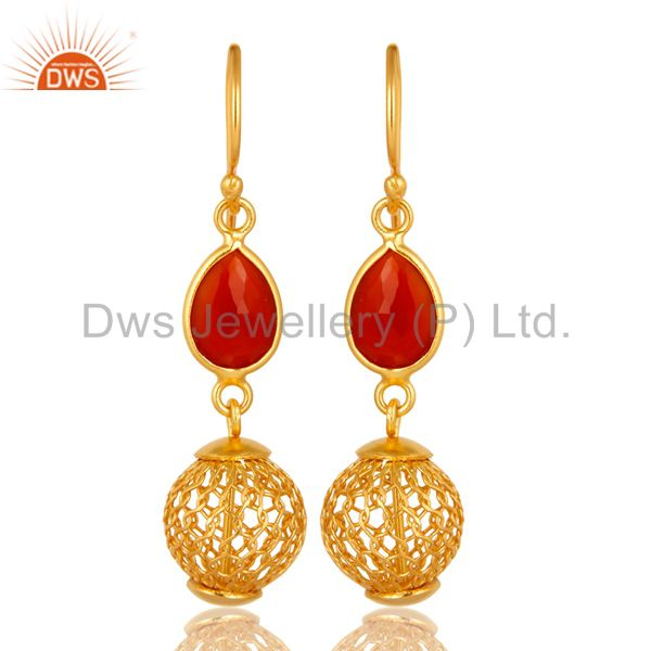 925 Sterling Silver Red Onyx Designer Earrings With Gold Plated
