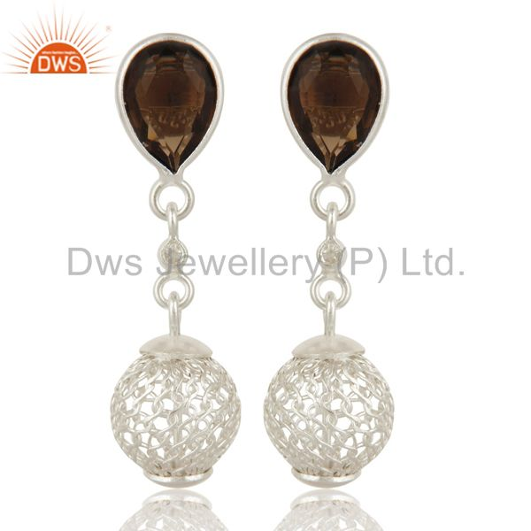 925 Sterling Silver Smoky Quartz Bezel-Set Drop Earrings