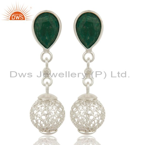 925 Sterling Silver Green Corundum Gemstone Drop Earrings