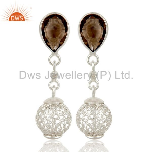 Solid Sterling Silver Smokey and White Topaz Designer Dangle Earring
