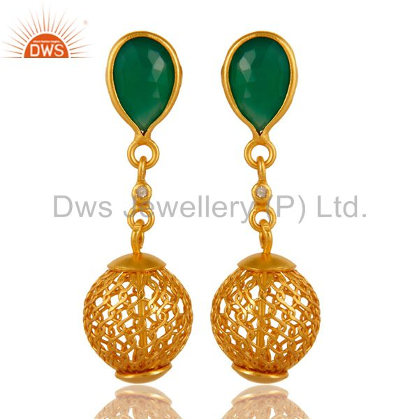 925 Sterling Silver Green Onyx Gemstone Drop Earrings With Gold Plated