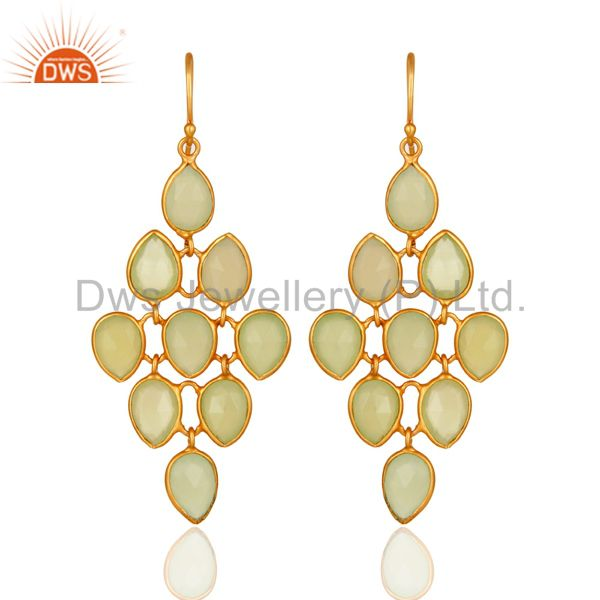Faceted Green Chalcedony Chandelier Earrings Made In 18K Gold On Sterling Silver