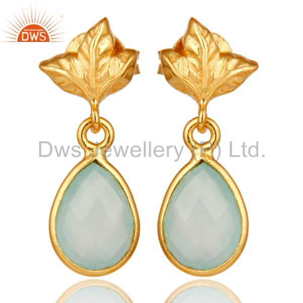 18K Gold Plated Sterling Silver Aqua Chalcedony Dangle Drop Stud Earring