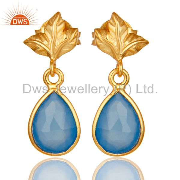 18K Gold Plated Sterling Silver Blue Chalcedony Dangle Drop Stud Earring