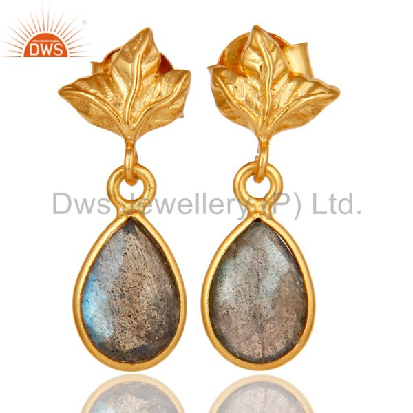 18K Gold Plated Sterling Silver Natural Labradorite Dangle Drop Stud Earrings