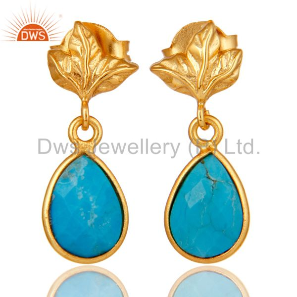 18K Gold Plated Sterling Silver Turquoise Dangle Drop Stud Earring