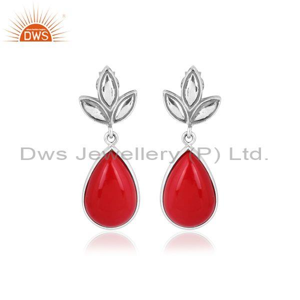 Pear Cut Cultured Coral Set Oxidized Silver Floral Earrings