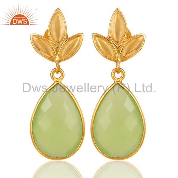 Prehnite Chalcedony Leaf Stud Gold Plated Wholesale Drop Sterling Silver Jewelry