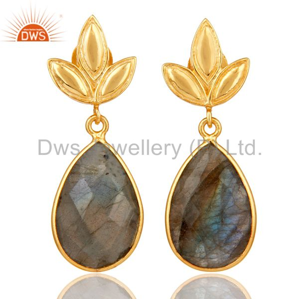 Labrodorite Leaf Stud Gold Plated Wholesale Drop Sterling Silver Jewelry