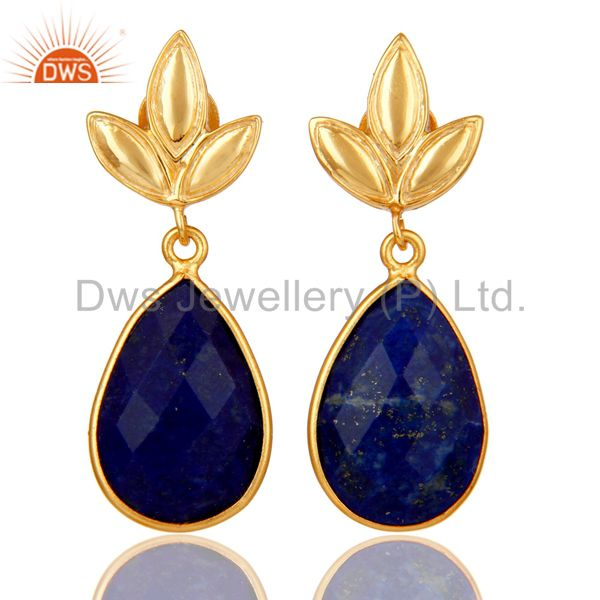 Lapis Leaf Stud Gold Plated Wholesale Drop Sterling Silver Jewelry
