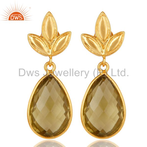 Lemon Topaz Leaf Stud Gold Plated Wholesale Drop Sterling Silver Jewelry