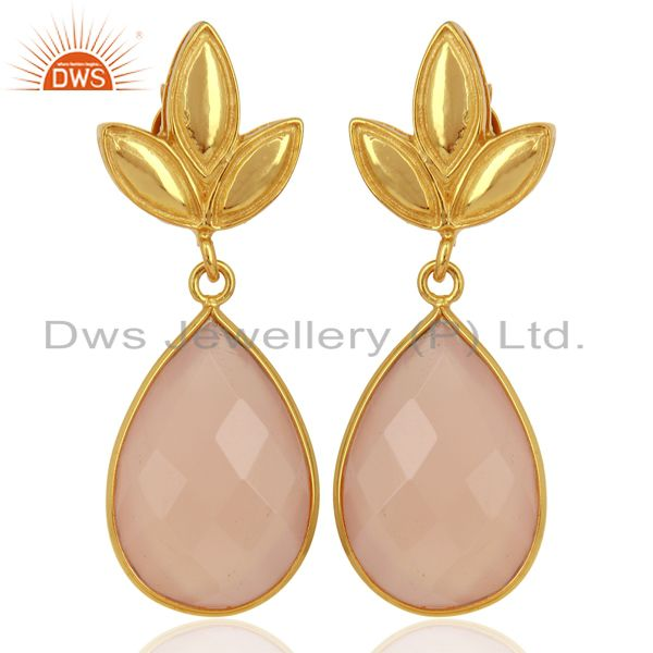 Rose Chalcedony Leaf Stud Gold Plated Wholesale Drop Sterling Silver Jewelry