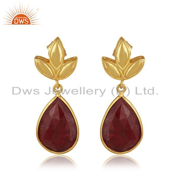 Designer Gold Plated Silver Natural Ruby Earring Jewelry