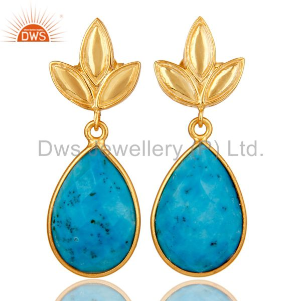 Turquoise Leaf Stud Gold Plated Wholesale Drop Sterling Silver Jewelry