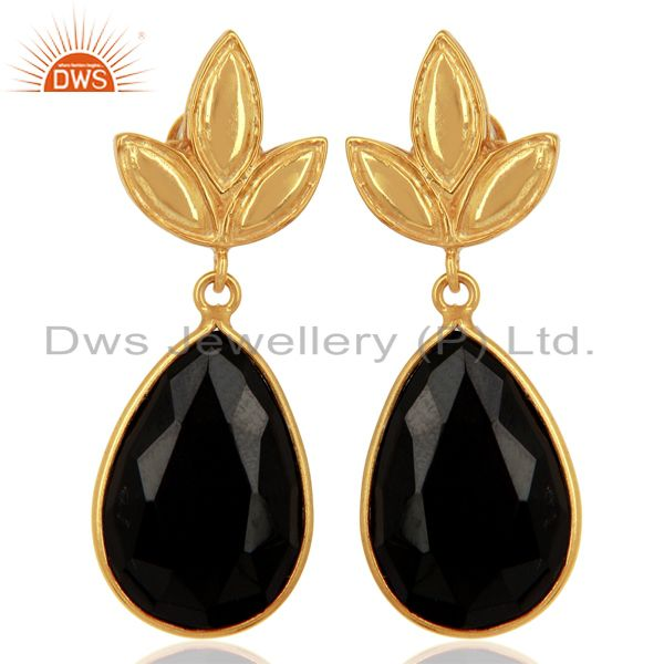 Gold Plated 925 Silver Natural Black Onyx Gemstone Earrings Supplier