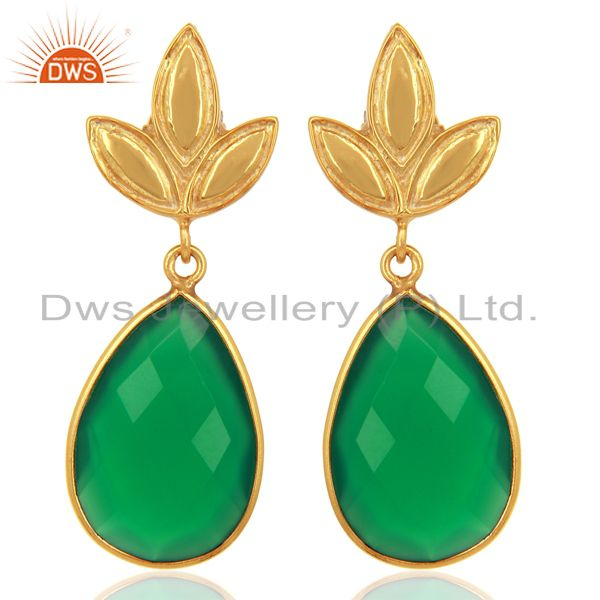 Yellow Gold Plated Silver Green Onyx Gemstone Earrings Manufacturer