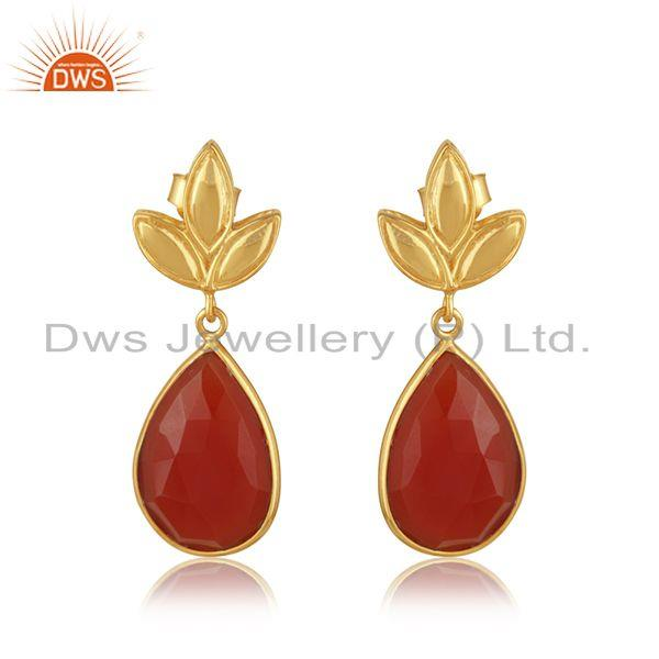 Gold Plated Sterling Silver Red Onyx Gemstone Designer Earrings Jewellery India