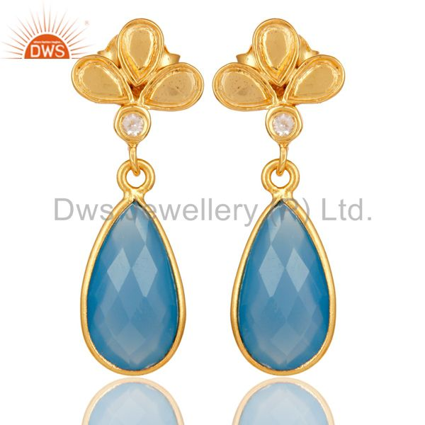 18K Gold Plated Blue Chalcedony and White Topaz Sterling Silver Dangle Earring