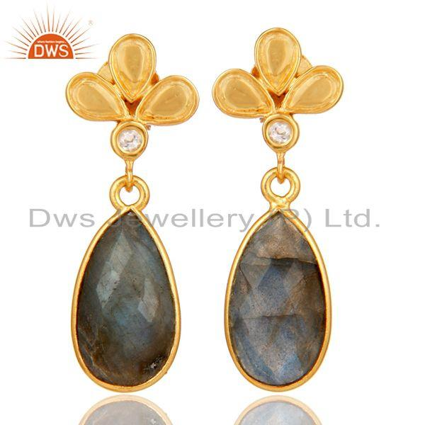 18K Gold Plated Labradorite and White Topaz Sterling Silver Dangle Earring